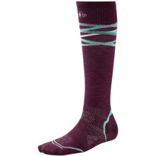 SmartWool PhD Ski Ultralight Pattern Socks - Merino Wool, Over the Calf (For Women) in Aubergine - 2nds