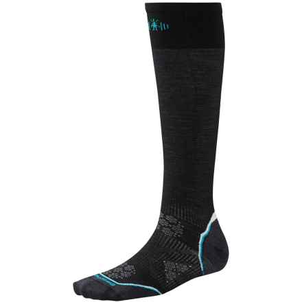 SmartWool PhD Ski Ultralight Pattern Socks - Merino Wool, Over the Calf (For Women) in Black - 2nds
