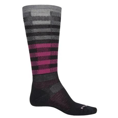 SmartWool PhD Slopestyle Light Ifrane Socks - Merino Wool, Over the Calf (Men and Women) in Black/Berry