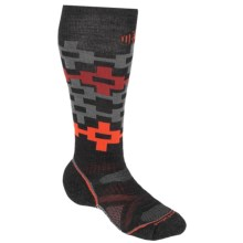 SmartWool PhD Snowboard Medium Pattern Socks - Merino Wool, Midweight, Over-the-Calf (For Men and Women) in Charcoal/Orange - 2nds