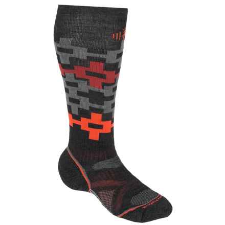 SmartWool PhD Snowboard Medium Pattern Socks - Merino Wool, Over the Calf (For Men and Women) in Charcoal/Orange - 2nds