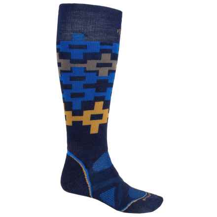 SmartWool PhD Snowboard Medium Pattern Socks - Merino Wool, Over the Calf (For Men and Women) in Navy - 2nds