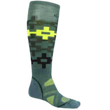 SmartWool PhD Snowboard Medium Pattern Socks - Merino Wool, Over the Calf (For Men and Women) in Sea Pine - 2nds