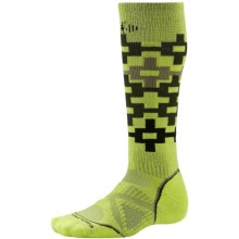 SmartWool PhD Snowboard Medium Pattern Socks - Merino Wool, Over the Calf (For Men and Women) in Smartwool Green - 2nds