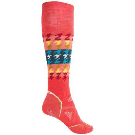 SmartWool PhD Snowboard Medium Socks - Merino Wool, Over the Calf (For Women) in Hibiscus - 2nds
