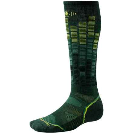 SmartWool PhD Snowboard Pattern Socks - Merino Wool, Over the Calf (For Men and Women) in Bottle Green - Closeouts