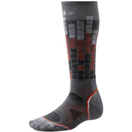 SmartWool PhD Snowboard Pattern Socks - Merino Wool, Over the Calf (For Men and Women) in Graphite - Closeouts