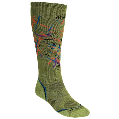SmartWool PhD Snowboard Socks - Merino Wool, Midweight, Over-the-Calf (For Men and Women) in Pesto