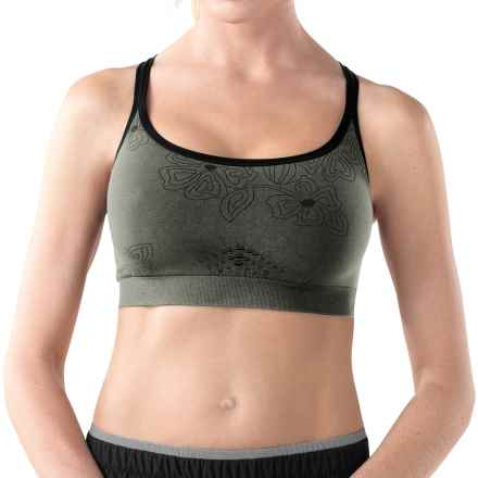 SmartWool PhD Strappy Sports Bra - Merino Wool (For Women) in Charcoal Print - Closeouts