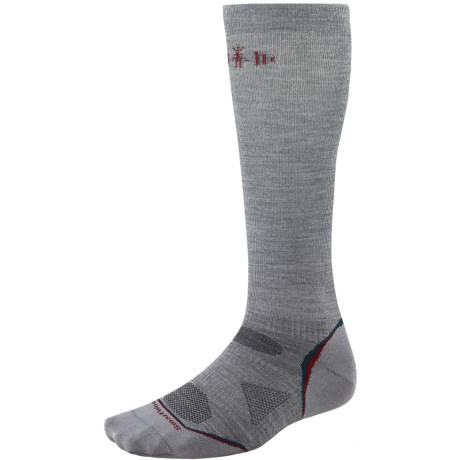 SmartWool PhD Ultralight Graduated Compression Socks - Merino Wool (For Men and Women) in Light Grey