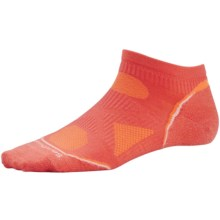 SmartWool PhD Ultralight Micro Running Socks - Merino Wool, Below the Ankle (For Women) in Poppy/White - Closeouts