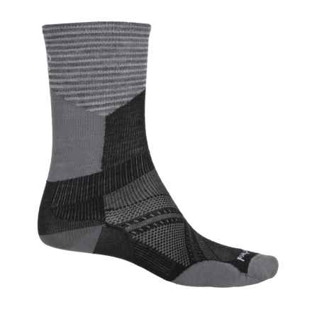 SmartWool PhD Ultralight Pattern Cycle Socks - Merino Wool, Crew (For Men and Women) in Black - Closeouts