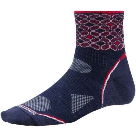 SmartWool PhD Ultralight Run Socks - Merino Wool, Quarter Crew (For Women) in Navy/Persian Red - 2nds