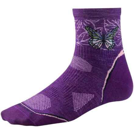 SmartWool PhD Ultralight Run Socks - Merino Wool, Quarter Crew (For Women) in Purple Dahlia - 2nds