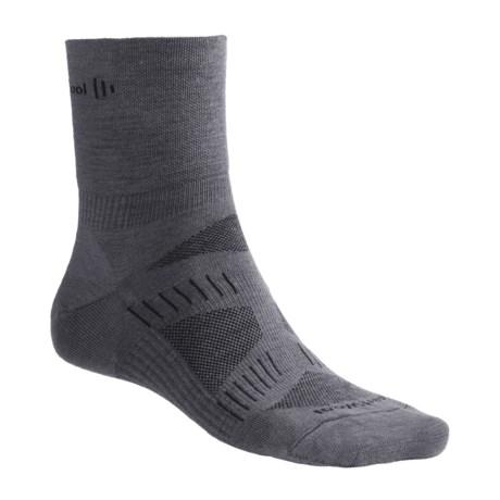 SmartWool PhD V2 Cycling Socks - Merino Wool, 3/4 Crew (For Men) in Graphite/Black