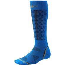 SmartWool PhD V2 Downhill Racer Socks - Merino Wool, Over the Calf (For Men and Women) in Bright Blue - 2nds