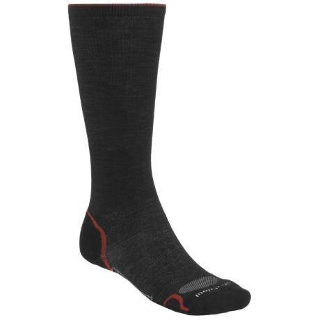 SmartWool PhD V2 Graduated Compression Socks - Merino Wool, Mid Calf (For Men and Women) in Black/Red