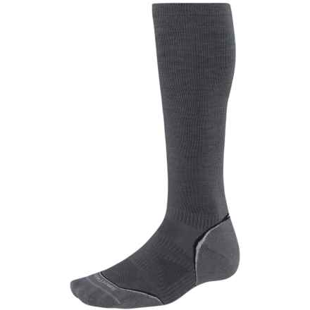 SmartWool PhD V2 Graduated Compression Socks - Merino Wool, Over the Calf (For Men and Women) in Graphite/White - 2nds