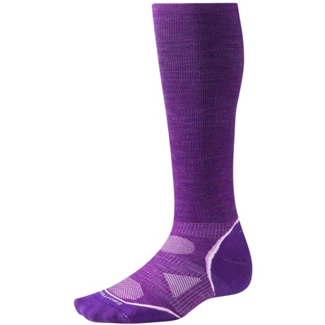 SmartWool PhD V2 Graduated Compression Socks - Merino Wool, Over the Calf (For Men and Women) in Purpl Dahlia