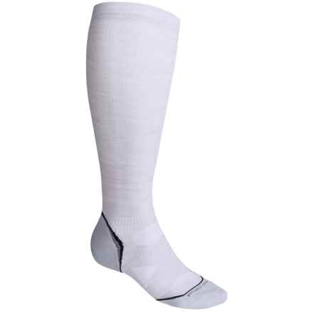 SmartWool PhD V2 Graduated Compression Socks - Merino Wool, Over the Calf (For Men and Women) in Silver - 2nds