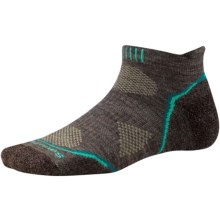 SmartWool PhD V2 Outdoor Light Micro Socks - Merino Wool, Below the Ankle (For Women) in Taupe/Dark Spearmint - 2nds