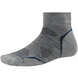 SmartWool PhD V2 Outdoor Light Mini Socks - Merino Wool, Quarter Crew (For Men and Women) in Light Grey/Navy
