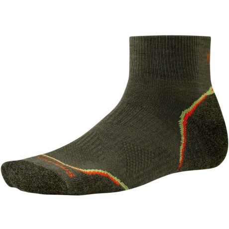 SmartWool PhD V2 Outdoor Light Mini Socks - Merino Wool, Quarter Crew (For Men and Women) in Loden/Bright Orange