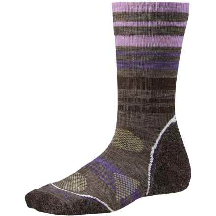 SmartWool PhD V2 Outdoor Light Pattern Socks - Merino Wool, Crew (For Women) in Taupe Heather - 2nds
