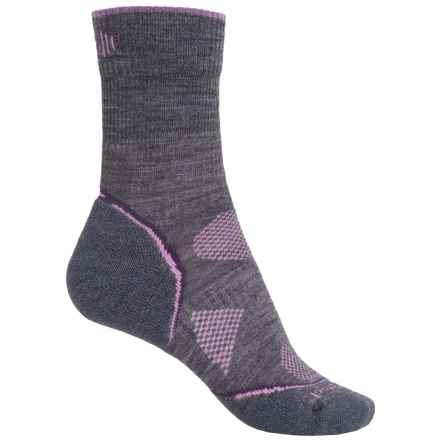 SmartWool PhD V2 Outdoor Light Socks - Merino Wool, Crew (For Women) in Medium Gray/Desert Purple - Closeouts