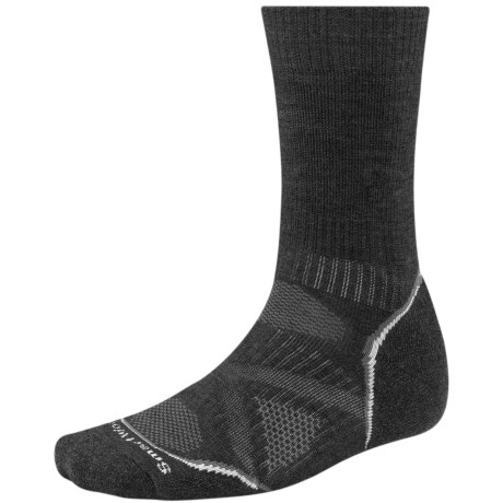 SmartWool PhD V2 Outdoor Medium Socks - Merino Wool, Crew (For Men and Women) in Charcoal