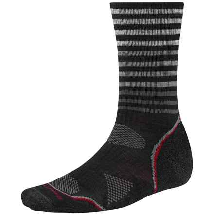 SmartWool PhD V2 Outdoor Pattern Socks - Merino Wool, Crew (For Men and Women) in Black - 2nds