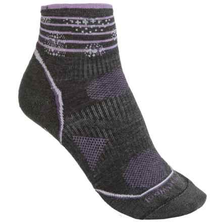 SmartWool PhD V2 Outdoor Ultralight Pattern Mini Socks - Merino Wool Blend, Ankle (For Women) in Charcoal/Purple - 2nds