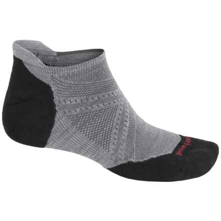 SmartWool PhD V2 Run Elite Socks - Merino Wool, Below-the-Ankle (For Men and Women) in Light Gray/Black - 2nds