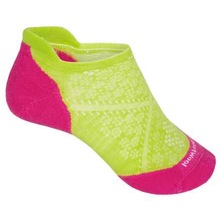 SmartWool PhD V2 Run Elite Socks - Merino Wool, Below the Ankle (For Women) in Smartwool Green/Bright Pink - 2nds