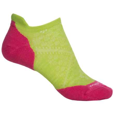 SmartWool PhD V2 Run Elite Socks - Merino Wool, Below the Ankle (For Women) in Smartwool Green/Bright Pink - Closeouts
