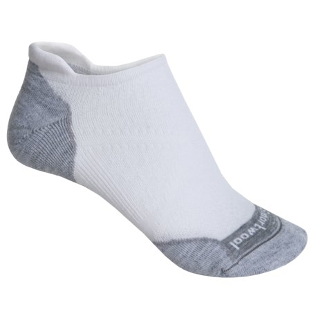 SmartWool PhD V2 Run Elite Socks - Merino Wool, Below the Ankle (For Women) in White/Lite Gray