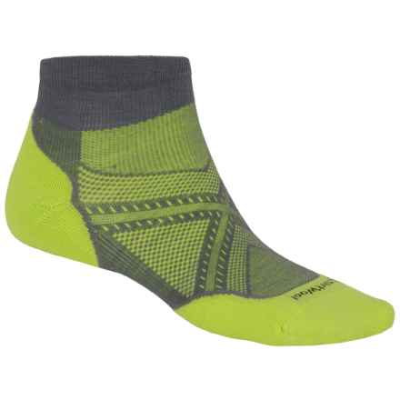 SmartWool PhD V2 Run Light Socks - Merino Wool, Ankle (For Men and Women) in Graphite/Smartwool Green - 2nds
