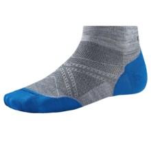SmartWool PhD V2 Run Light Socks - Merino Wool, Ankle (For Men and Women) in Light Gray/Bright Blue - 2nds