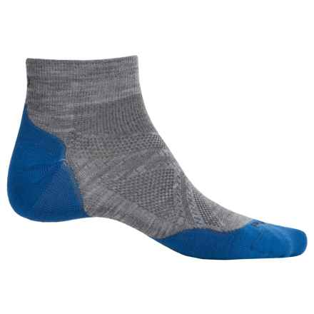SmartWool PhD V2 Run Light Socks - Merino Wool, Ankle (For Men and Women) in Light Grey/Bright Blue - Closeouts
