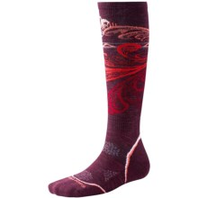 SmartWool PhD V2 Snowboard Light Socks - Merino Wool, Over the Calf (For Women) in Aubergine - Closeouts
