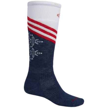 SmartWool PhD V2 Snowboard Socks - Merino Wool, Over the Calf (For Men) in Red/White/Blue - 2nds