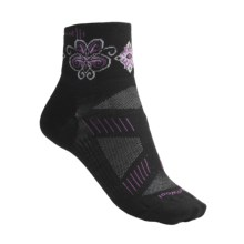 SmartWool PhD V2 Ultralght Mini Cycling Socks - Merino Wool, Quarter Crew (For Women) in Black/Violet - 2nds