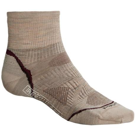 SmartWool PhD V2 Ultralight Outdoor Mini Socks - Merino Wool, Quarter Crew (For Men and Women) in Oatmeal