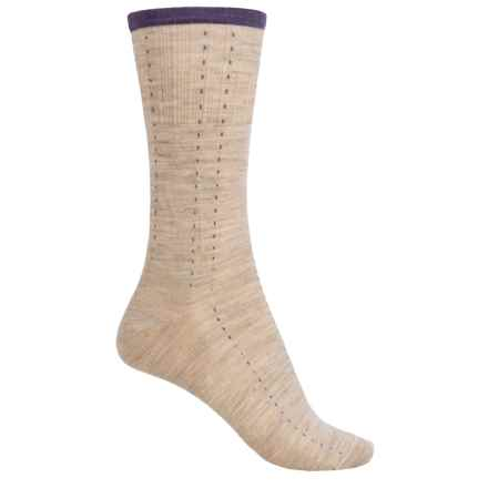 SmartWool Pick Stitch Socks - Merino Wool, Crew (For Women) in Oatmeal Heather - Closeouts