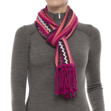SmartWool Pine Lake Chevron Scarf - Merino Wool (For Men and Women) in Berry