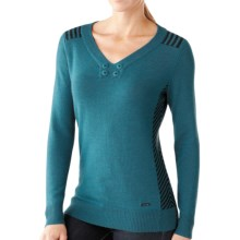 SmartWool Piney Lake Henley Sweater - Merino Wool (For Women) in Aegean Heather - Closeouts