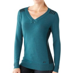 SmartWool Piney Lake Henley Sweater - Merino Wool (For Women) in Aegean Heather