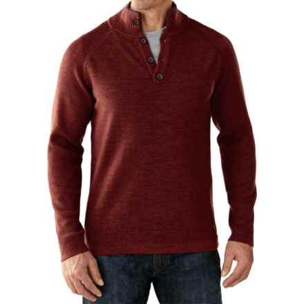 SmartWool Pioneer Ridge Half-Button Sweater - Merino Wool (For Men) in Cinnamon Heather - Closeouts