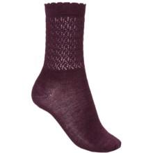 SmartWool Pointelle Socks - Merino Wool, Crew (For Women) in Aubergine Heather - Closeouts
