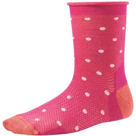 SmartWool Polka-Dot Socks - Merino Wool, Crew (For Little and Big Girls) in Bright Pink